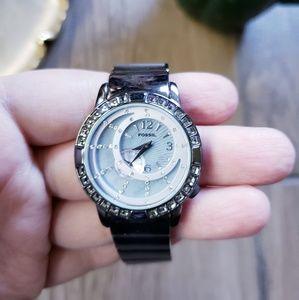 Fossil F2 rhinestone stainless steel watch womens